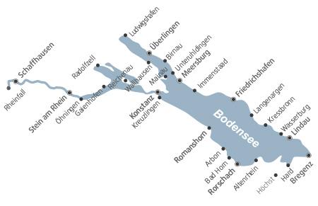 Schifffahrt am Bodensee - Übersichtskarte